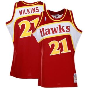 Mitchell & Ness Dominique Wilkins Atlanta Hawks Hardwood Classics Authentic Throwback Jersey-Red