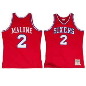 Moses Malone Philadelphia 76ers Mitchell & Ness 1982 - 1983 #2 Authentic Jersey - Red
