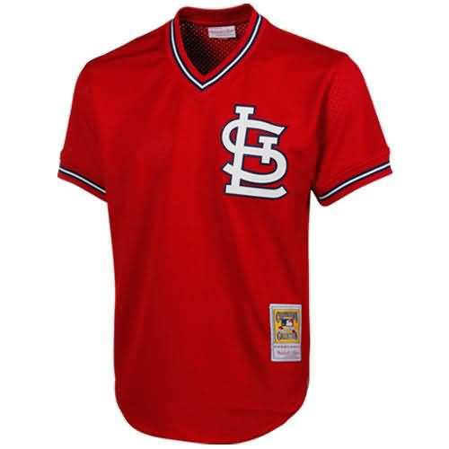 Mitchell & Ness Ozzie Smith St. Louis Cardinals 1985 Authentic Throwback Mesh Batting Practice Jersey - Red
