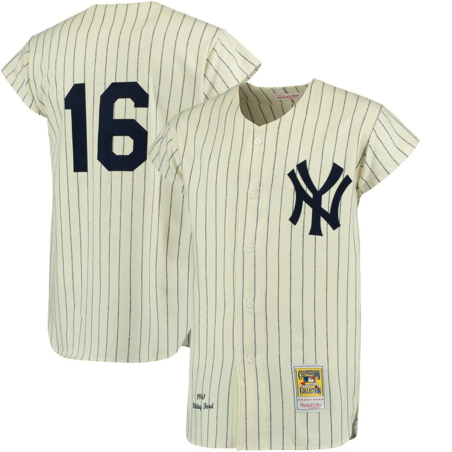 Whitey Ford New York Yankees Mitchell & Ness Authentic Jersey - Cream