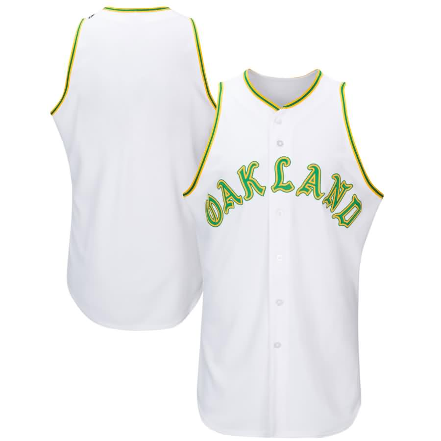 Oakland Athletics Majestic 1968 Turn Back the Clock Throwback Authentic Team Jersey - White