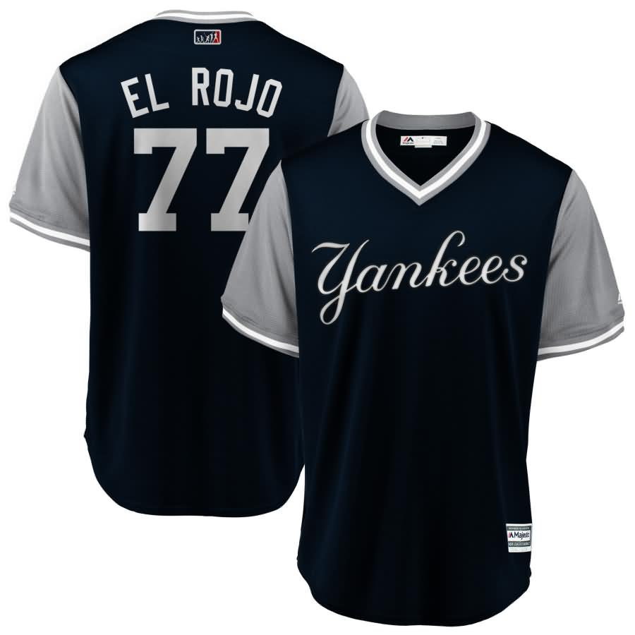 """Clint Frazier """"El Rojo"""" New York Yankees Majestic 2018 Players' Weekend Cool Base Jersey - Navy/Gray"""