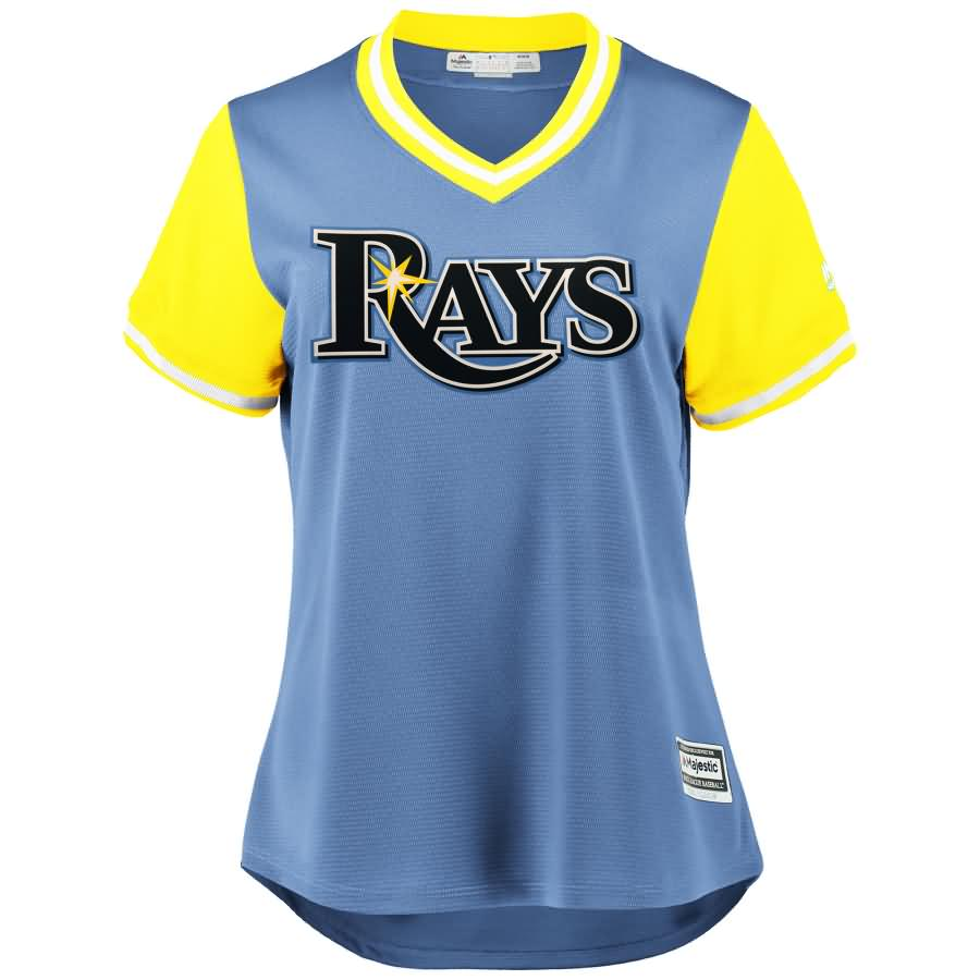 """Kevin Kiermaier """"Outlaw"""" Tampa Bay Rays Majestic Women's 2018 Players' Weekend Cool Base Jersey - Light Blue/Yellow"""
