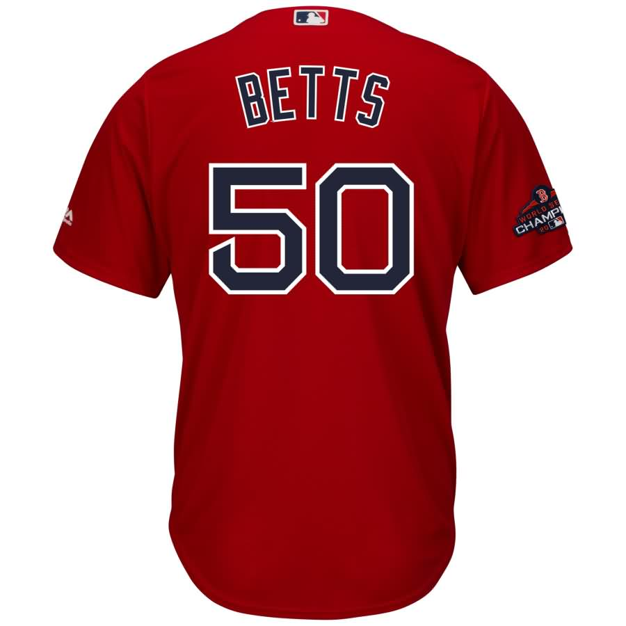 Mookie Betts Boston Red Sox Majestic 2018 World Series Champions Team Logo Player Jersey - Scarlet