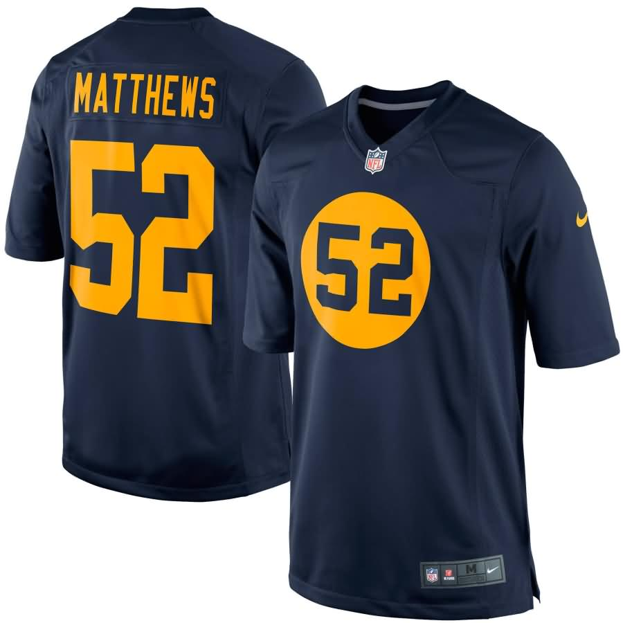 Clay Matthews Green Bay Packers Nike Throwback Limited Jersey - Navy Blue