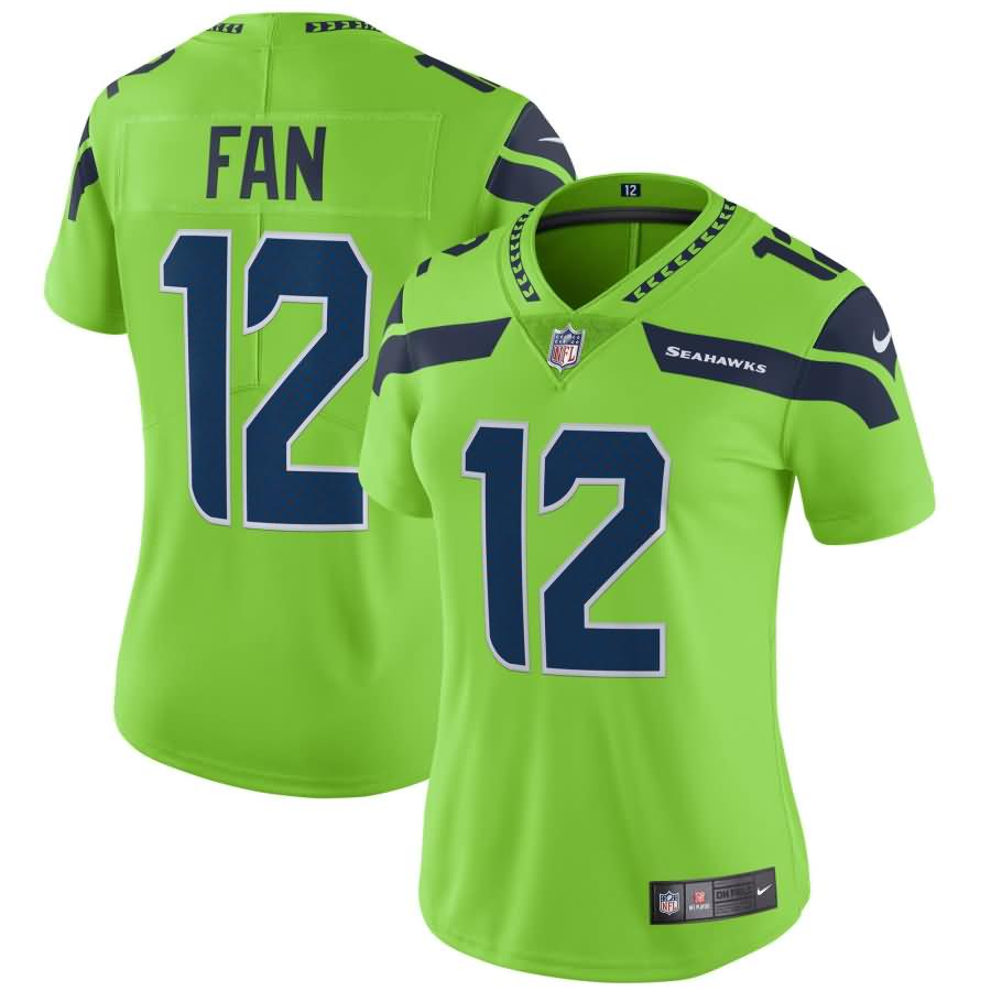 12s Seattle Seahawks Nike Women's Vapor Untouchable Color Rush Limited Player Jersey - Neon Green