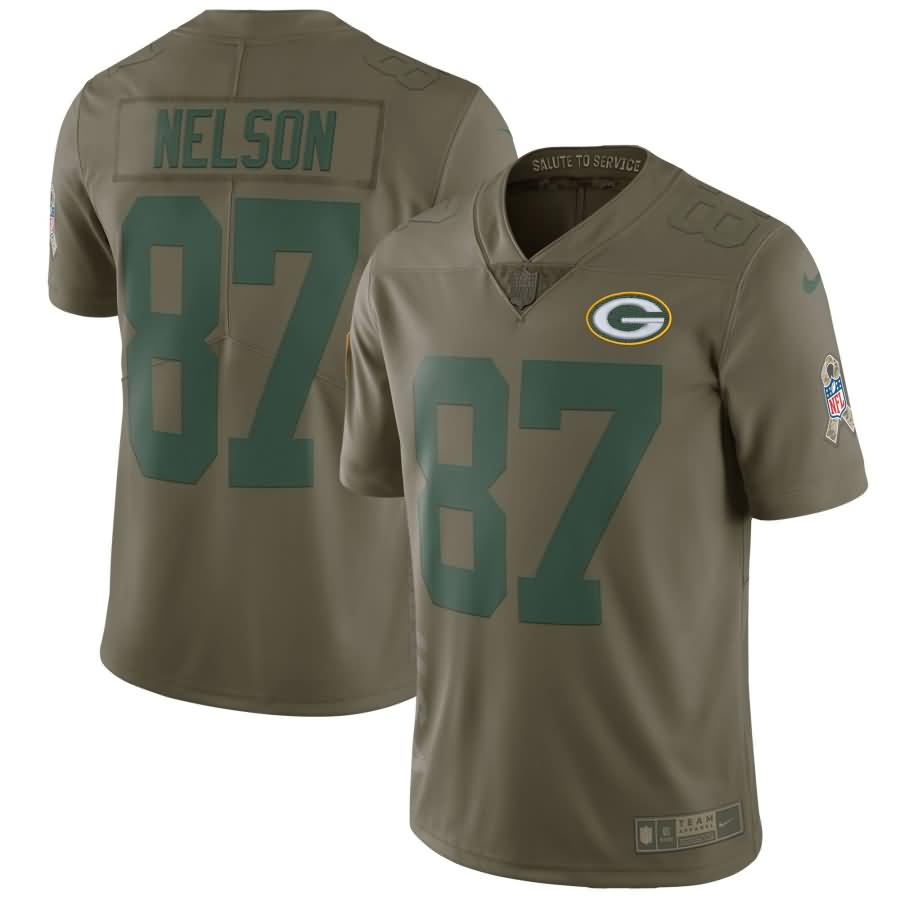 Jordy Nelson Green Bay Packers Nike Salute To Service Limited Jersey - Olive