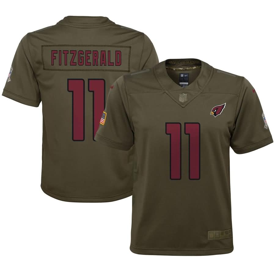 Larry Fitzgerald Arizona Cardinals Nike Youth Salute to Service Game Jersey - Olive