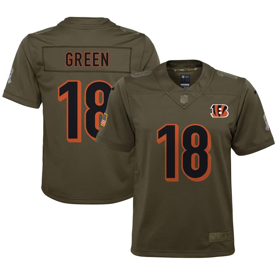 A.J. Green Cincinnati Bengals Nike Youth Salute to Service Game Jersey - Olive