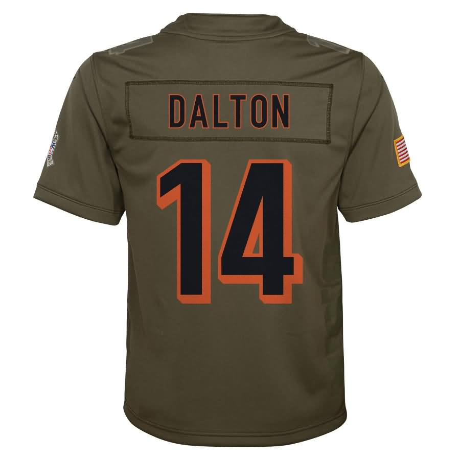 Andy Dalton Cincinnati Bengals Nike Youth Salute to Service Game Jersey - Olive