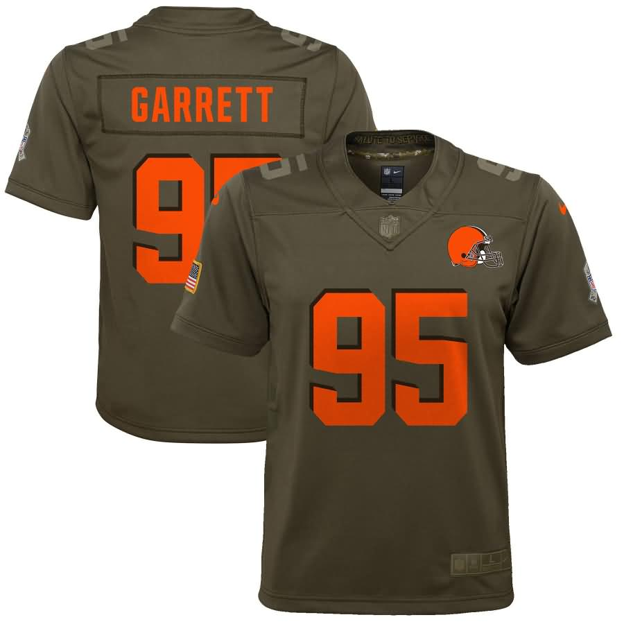 Myles Garrett Cleveland Browns Nike Youth Salute to Service Game Jersey - Olive