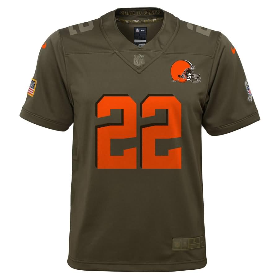 Jabrill Peppers Cleveland Browns Nike Youth Salute to Service Game Jersey - Olive