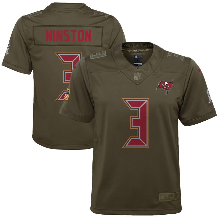 Jameis Winston Tampa Bay Buccaneers Nike Youth Salute to Service Game Jersey - Olive