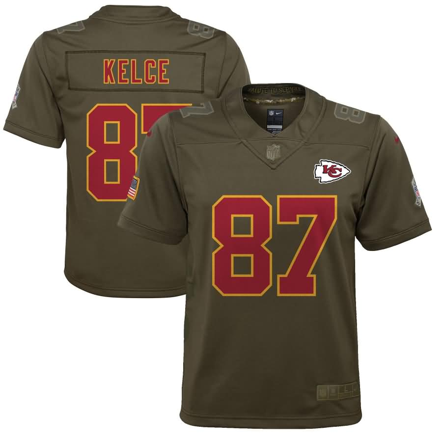 Travis Kelce Kansas City Chiefs Nike Youth Salute to Service Game Jersey - Olive
