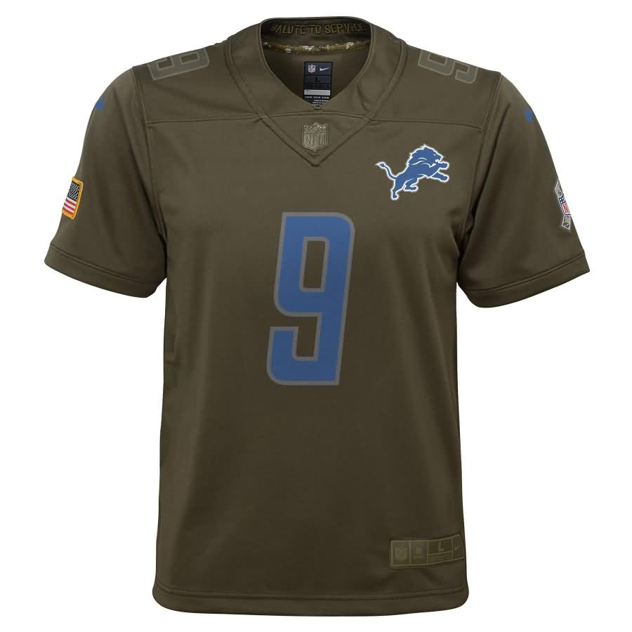 Matthew Stafford Detroit Lions Nike Youth Salute to Service Game Jersey - Olive