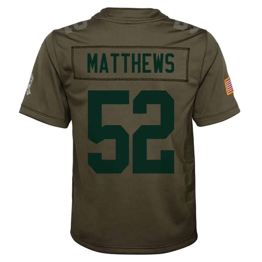 Clay Matthews Green Bay Packers Nike Youth Salute to Service Game Jersey - Olive