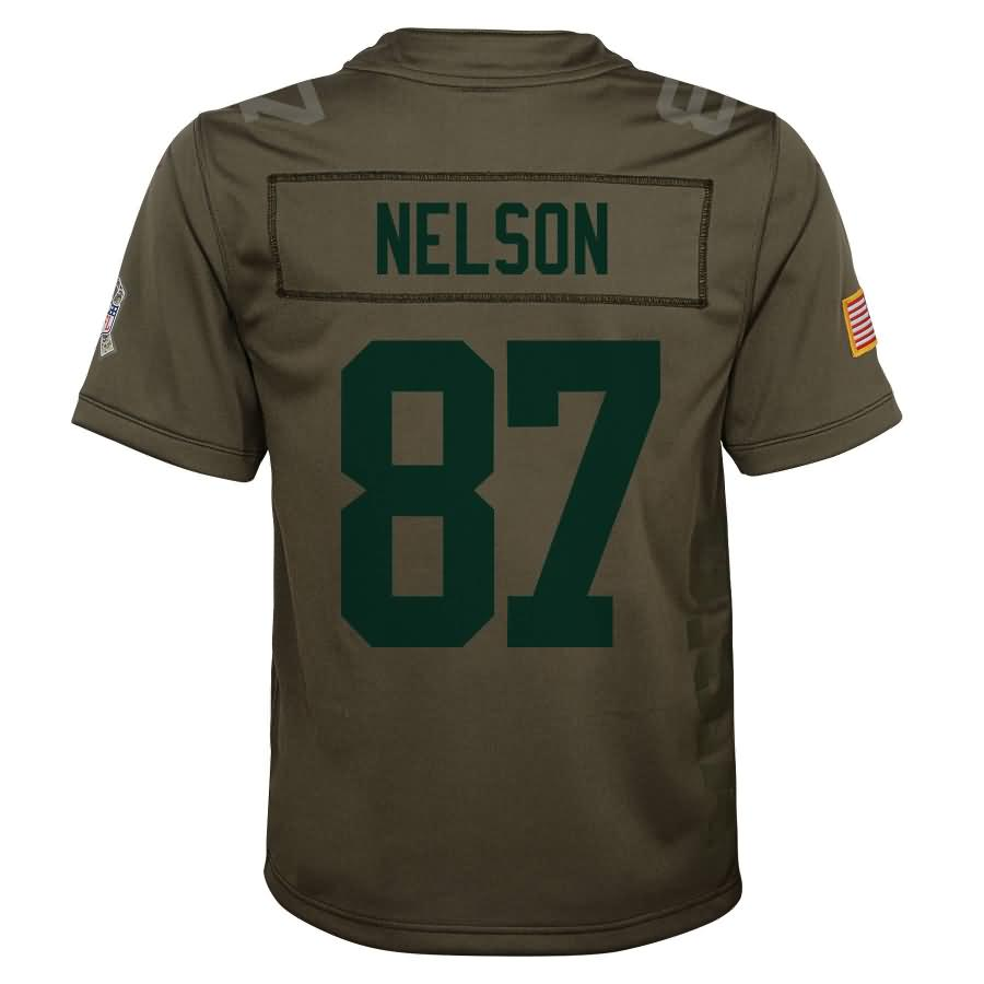Jordy Nelson Green Bay Packers Nike Youth Salute to Service Game Jersey - Olive