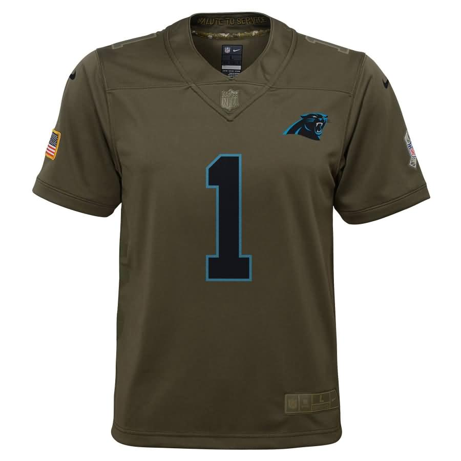 Cam Newton Carolina Panthers Nike Youth Salute to Service Game Jersey - Olive
