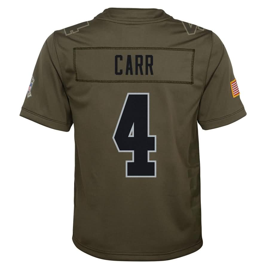 Derek Carr Oakland Raiders Nike Youth Salute to Service Game Jersey - Olive