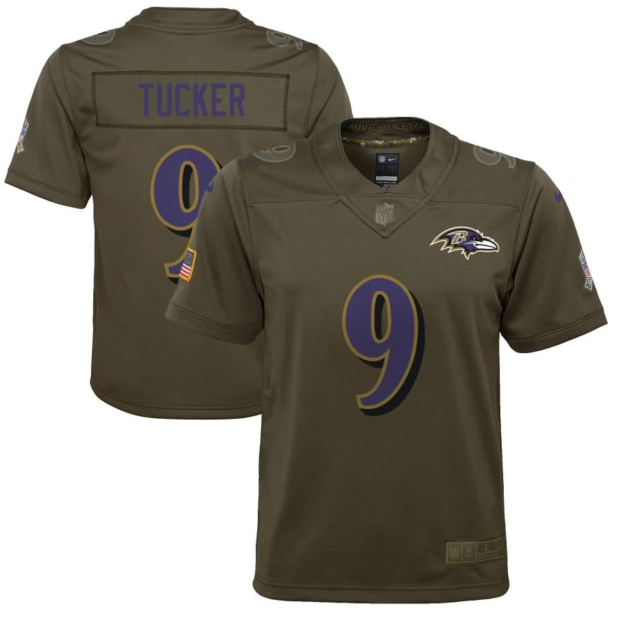 Justin Tucker Baltimore Ravens Nike Youth Salute to Service Game Jersey - Olive