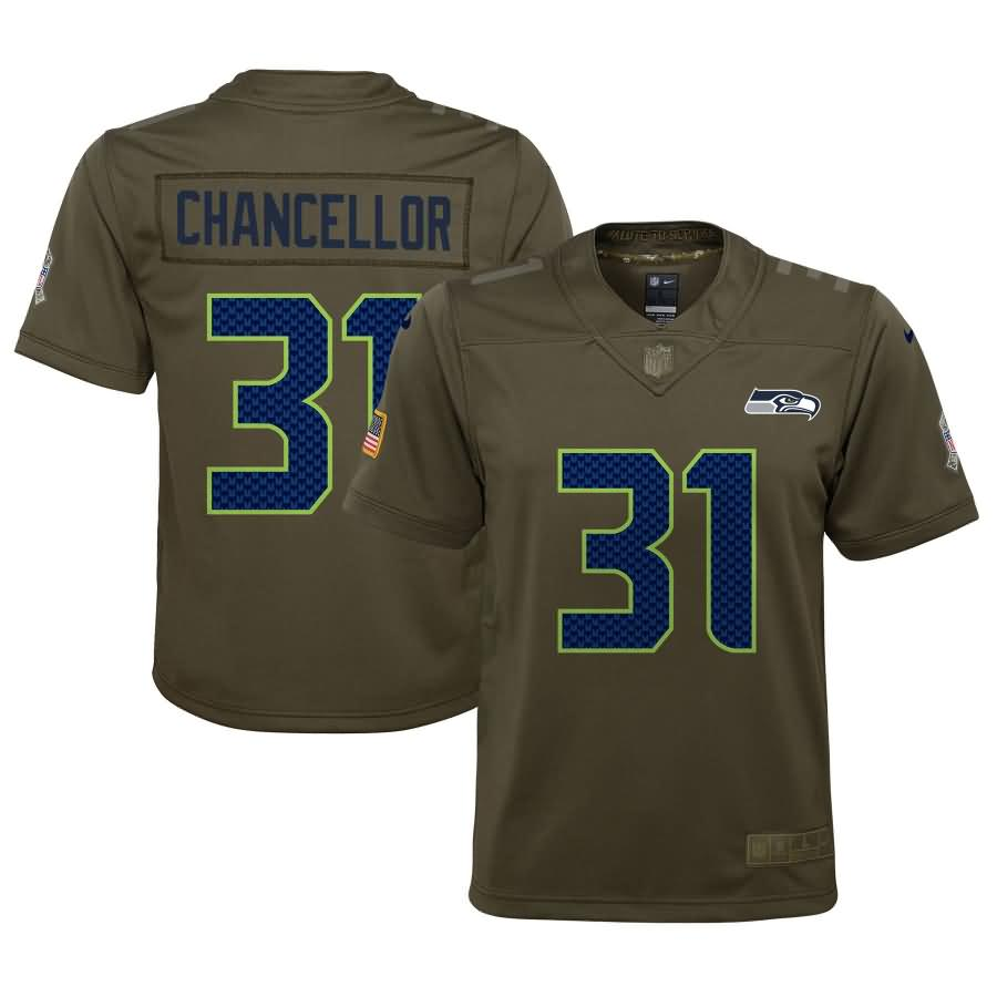 Kam Chancellor Seattle Seahawks Nike Youth Salute to Service Game Jersey - Olive