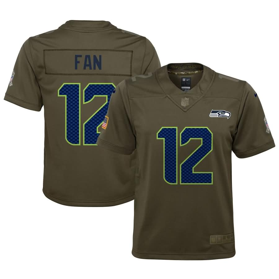 12s Seattle Seahawks Nike Youth Salute to Service Game Jersey - Olive