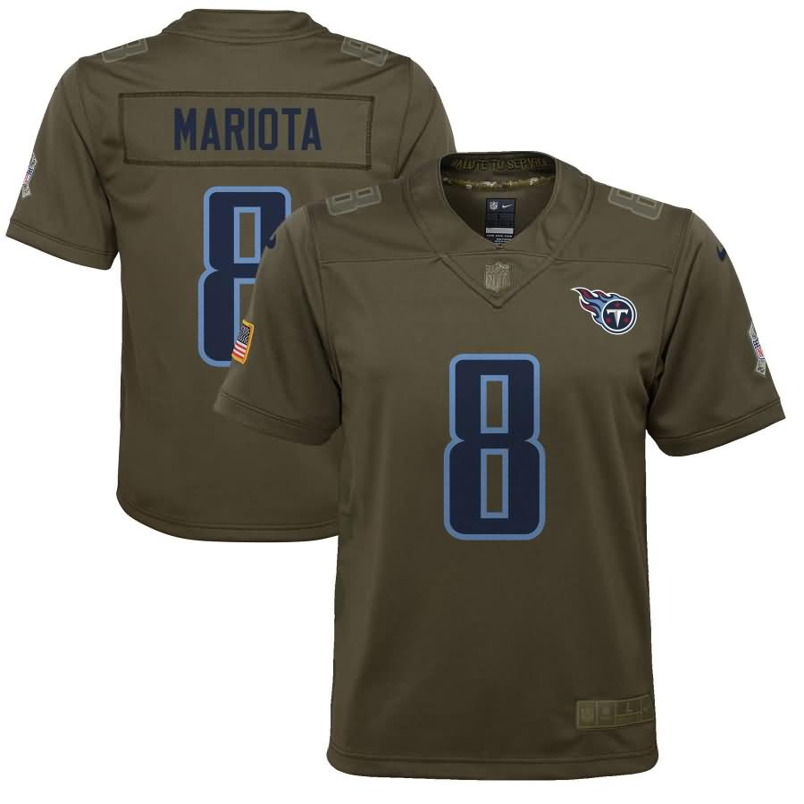 Marcus Mariota Tennessee Titans Nike Youth Salute to Service Game Jersey - Olive