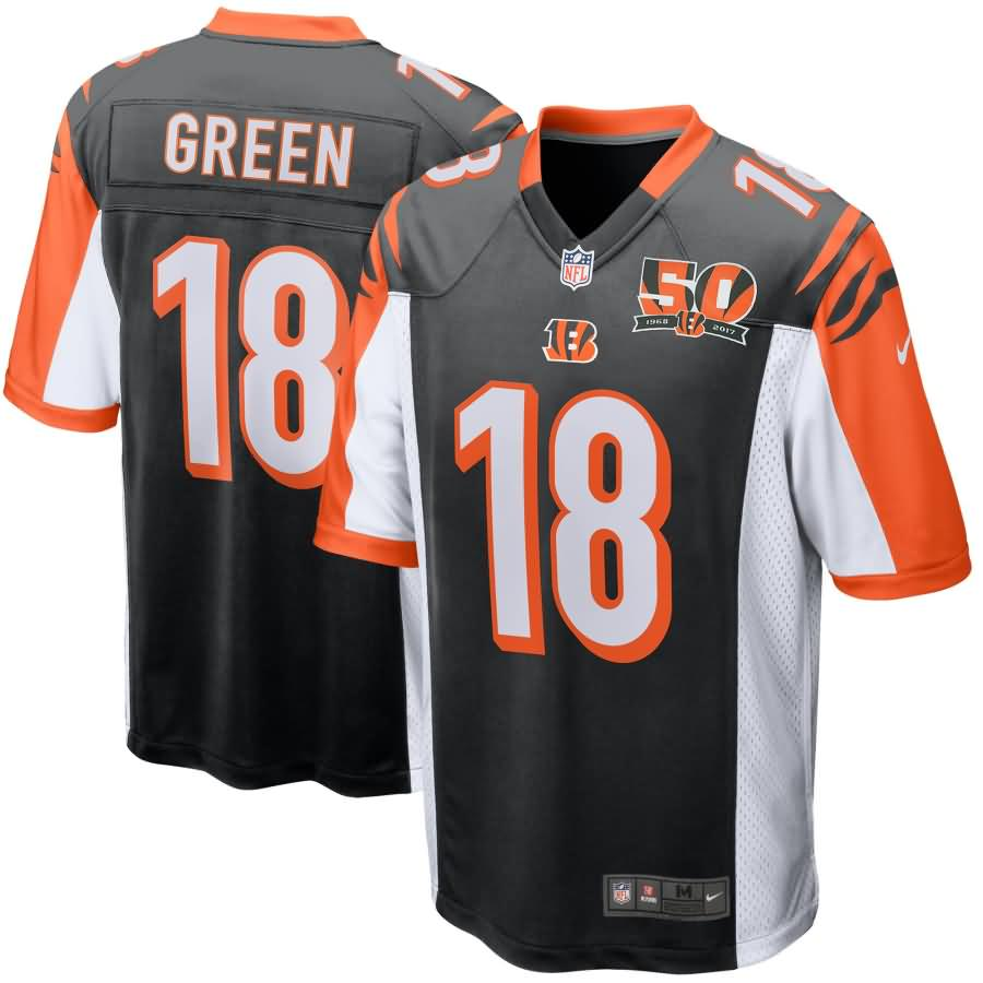 A.J. Green Cincinnati Bengals Nike Youth 50th Anniversary Patch Game Jersey - Black
