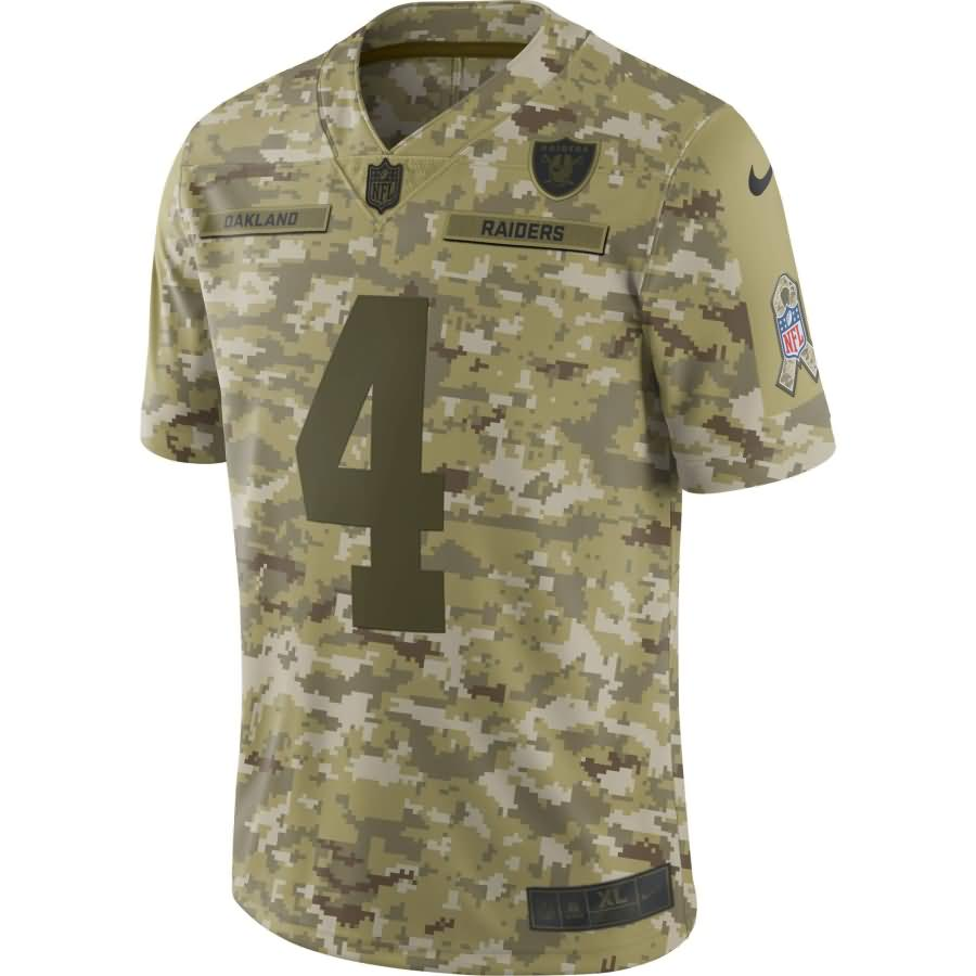Derek Carr Oakland Raiders Nike Salute to Service Limited Jersey - Camo