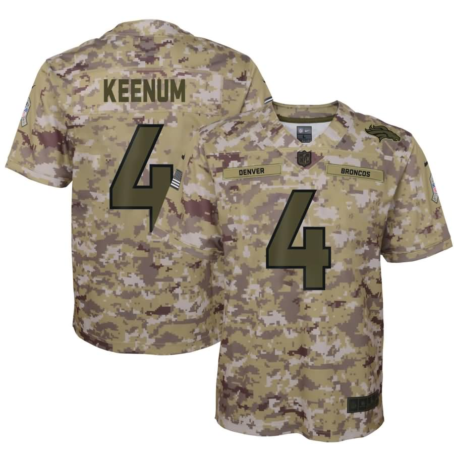 Case Keenum Denver Broncos Nike Youth Salute to Service Game Jersey - Camo