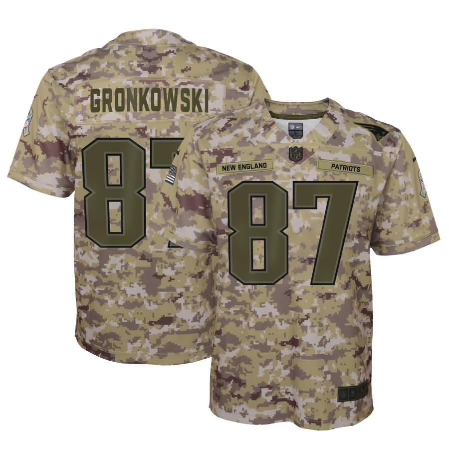 Rob Gronkowski New England Patriots Nike Youth Salute to Service Game Jersey - Camo